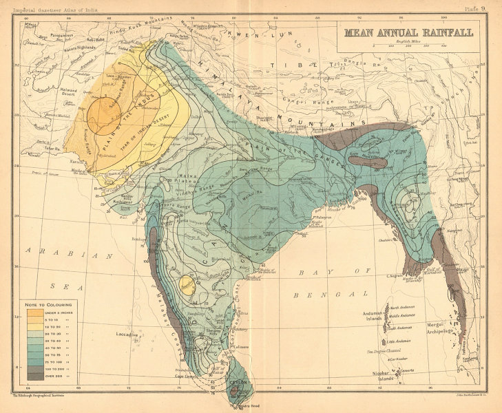 Associate Product SOUTH ASIA. British India & Burma. Mean Annual Rainfall 1909 old antique map