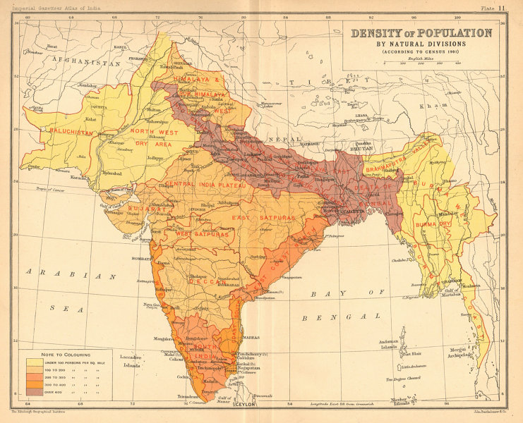 Associate Product BRITISH INDIA S. Asia. Population density 1901 census natural divisions 1909 map
