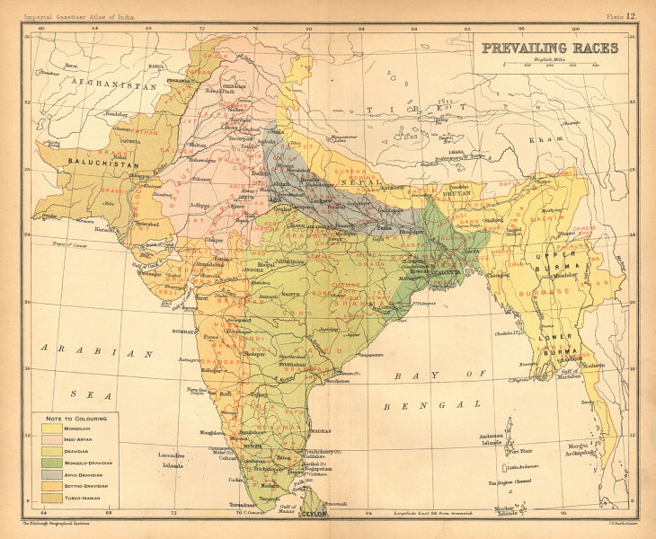 Associate Product SOUTH ASIA. BRITISH INDIA. Prevailing Races. Dravidian Mongoloid Aryan 1909 map