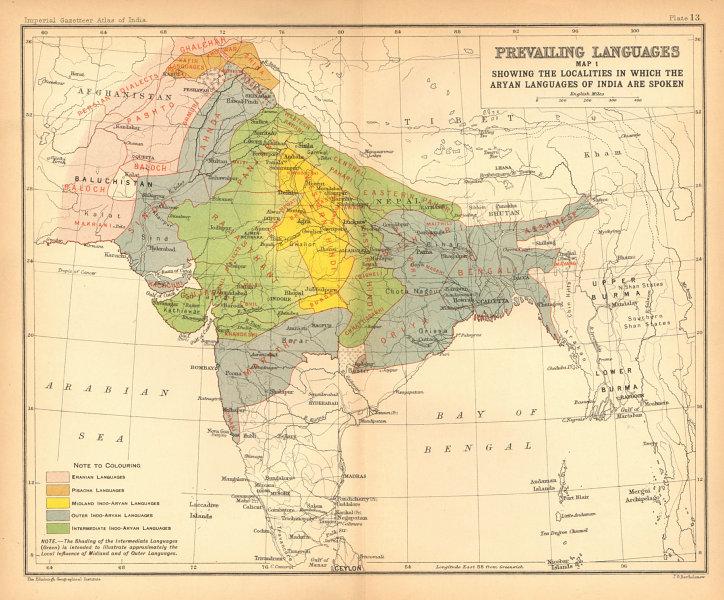 Associate Product INDIA South Asia languages - Aryan. Eranian Pisacha Indo-Aryan 1909 old map