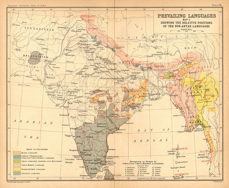 Associate Product INDIA South Asia languages - non-Aryan. Dravidian Tibeto-Burman Munda 1909 map
