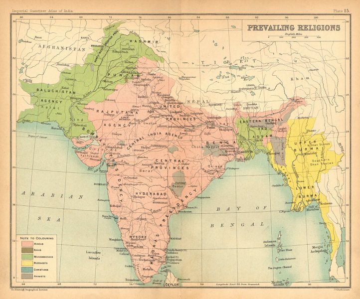BRITISH INDIA. South Asia religions. Hindu Muslim Buddhist Animist Sikh 1909 map