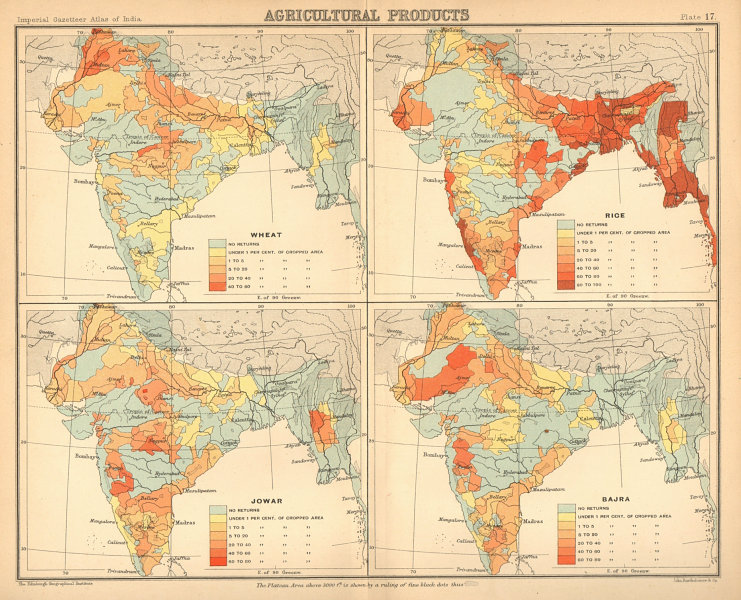 Associate Product BRITISH INDIA Food-grains Agriculture produce Wheat Rice Sorghum Millet 1909 map