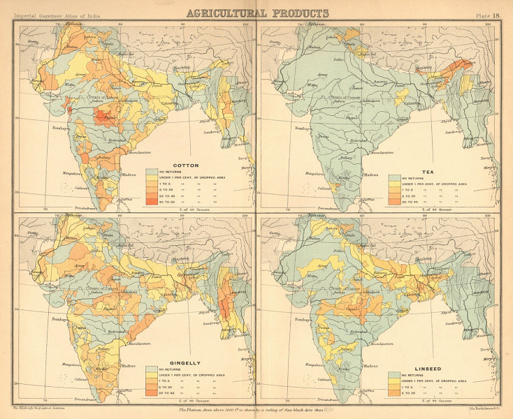 Associate Product BRITISH INDIA Agricultural Produce. Cotton, Tea, Sesame & Linseed 1909 old map