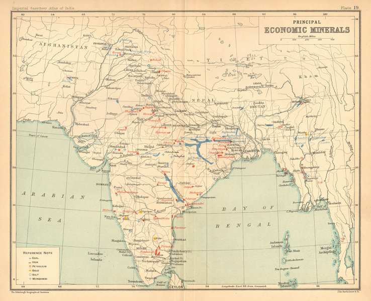Associate Product BRITISH INDIA Mineral production. Coal Iron Gold Salt Petrol Manganese 1909 map