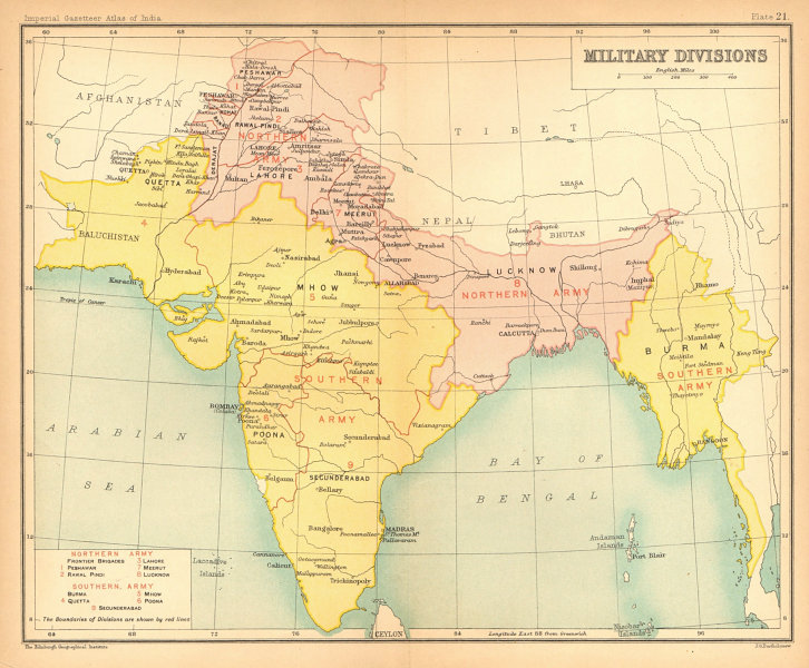 Associate Product BRITISH INDIA Military Divisions. Northern Army. Southern Army. Burma 1909 map