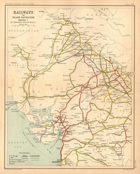 Associate Product BRITISH INDIA RAILWAYS North-west. Pakistan Punjab Rajasthan Gujarat 1909 map