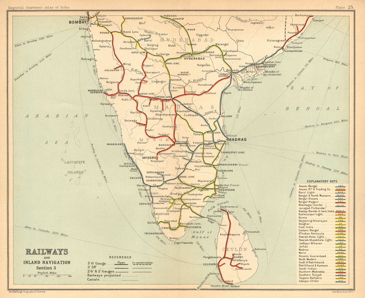 Details about BRITISH INDIA RAILWAYS South  Tamil Nadu Karnataka Kerala  Maharashtra 1909 map