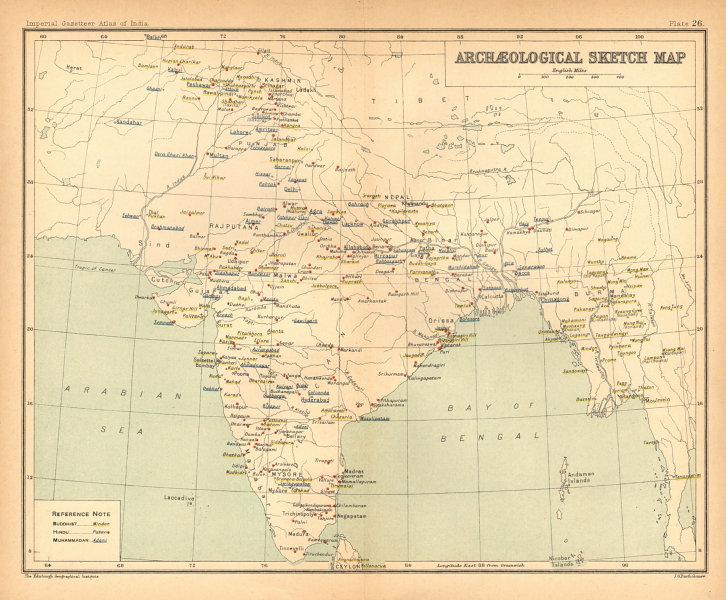 Associate Product BRITISH INDIA Archaeological map. Buddhist Hindu & Muslim sites 1909 old