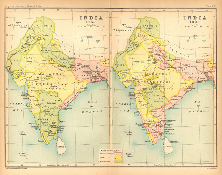Associate Product INDIA HISTORICAL. 1765 & 1805. British, Hindu & Muslim states 1909 old map