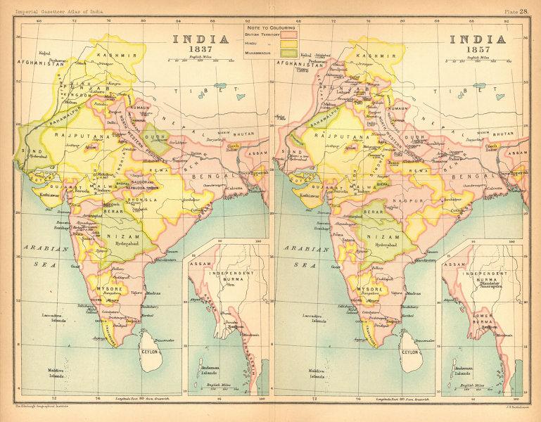 Associate Product INDIA HISTORICAL. 1837 & 1857. British, Hindu & Muslim states 1909 old map