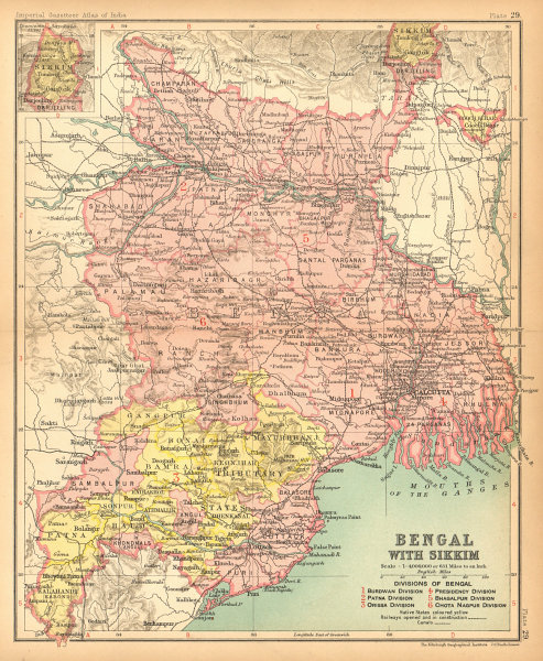 Associate Product 'Bengal, with Sikkim'. British India provinces. Bihar Jharkhand Orissa 1909 map