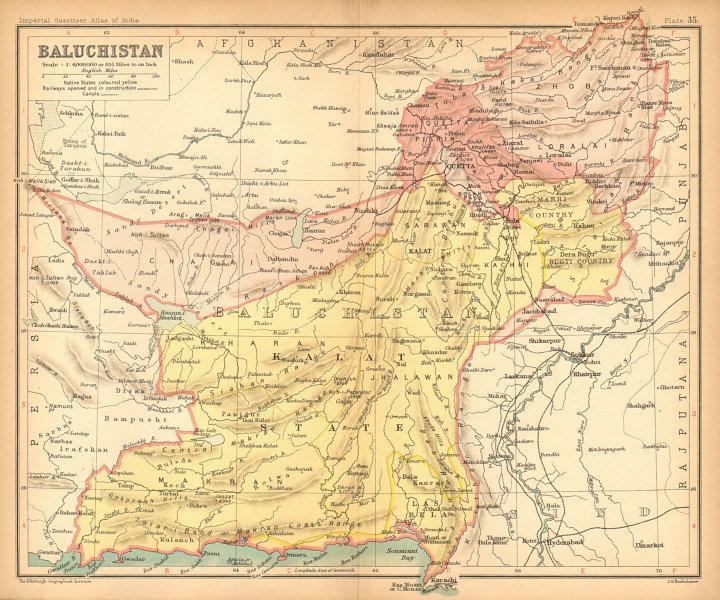 Associate Product 'Baluchistan'. British India/Pakistan province. Balochistan 1909 old map