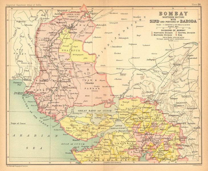 Bombay, Sind & Baroda. British India/Pakistan provinces. Gujarat Sindh 1909 map