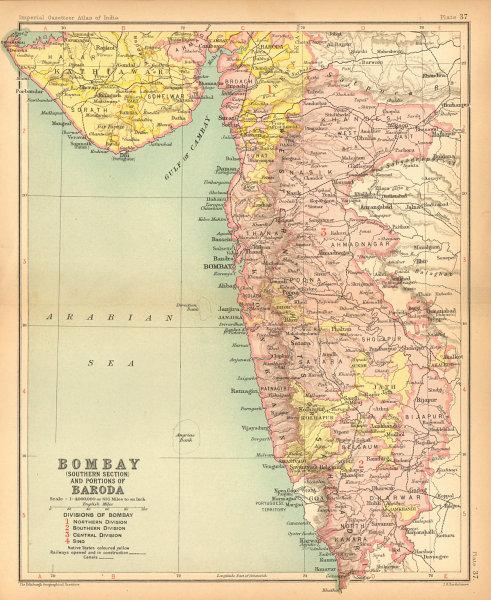 Associate Product Bombay South & part of Baroda. British India provinces. Maharashtra 1909 map