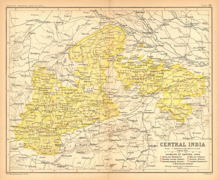 Associate Product 'Central India'. British India provinces. Madhya Pradesh 1909 old antique map