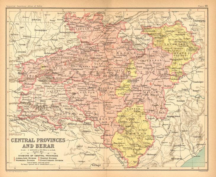 Associate Product 'Central Provinces & Berar'. British India. MP Chhattisgarh Maharashtra 1909 map