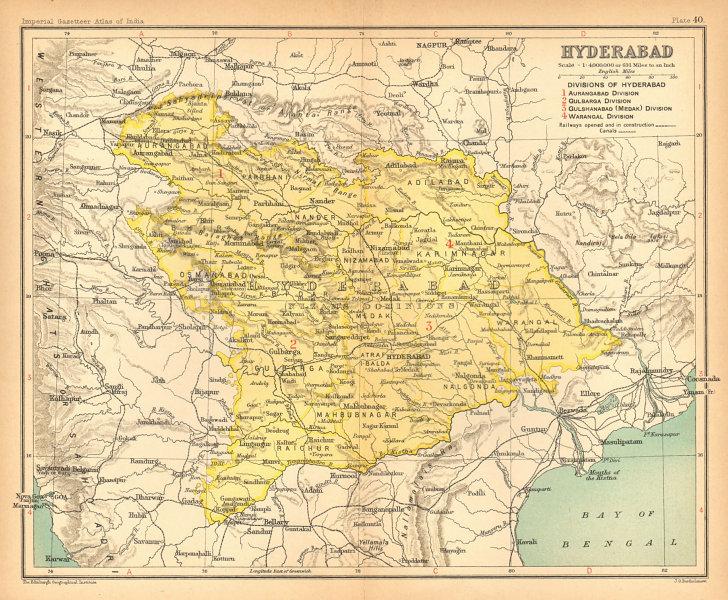 Details about 'Hyderabad'  British India province  Telangana Maharashtra  Karnataka 1909 map
