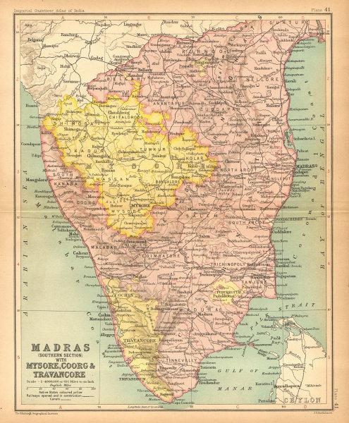 Associate Product 'Madras…  Mysore, Coorg & Travancore'. British India provinces South 1909 map