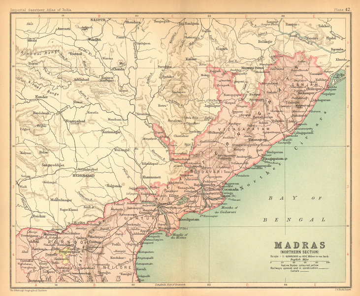 Associate Product 'Madras (Northern Section)'. British India provinces. Andhra Pradesh 1909 map