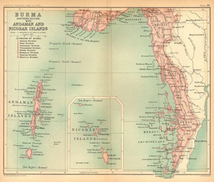 Associate Product British Burma South. Andaman & Nicobar Islands. Myanmar. Mergui 1909 old map