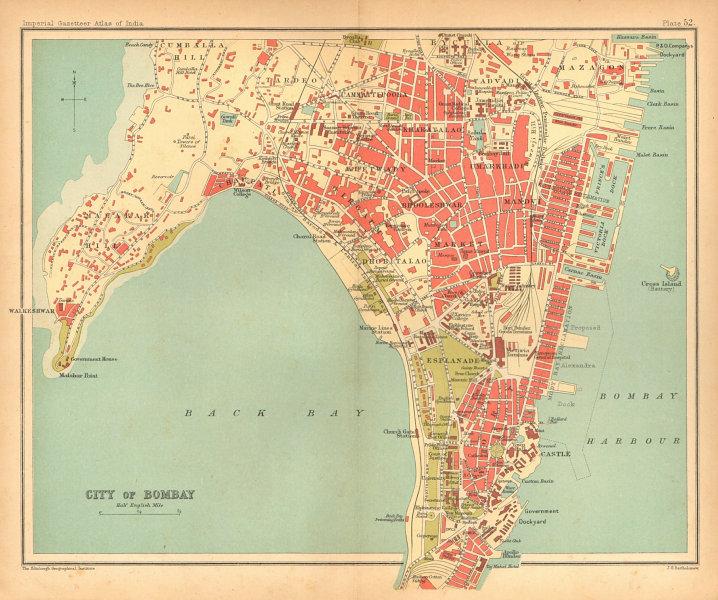 Associate Product Bombay/Mumbai town city plan. Key buildings & docks. British India 1909 map