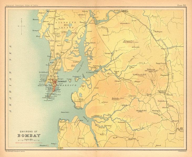 Associate Product Bombay/Mumbai city & environs. Maharashtra. Salsette. British India 1909 map