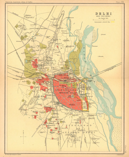 Associate Product Delhi town city plan. Key buildings & Cantonment. British India 1909 old map