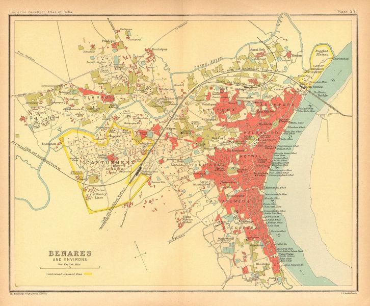 Associate Product Benares/Varanasi town city plan. Ganges Ghats cantonment. British India 1909 map