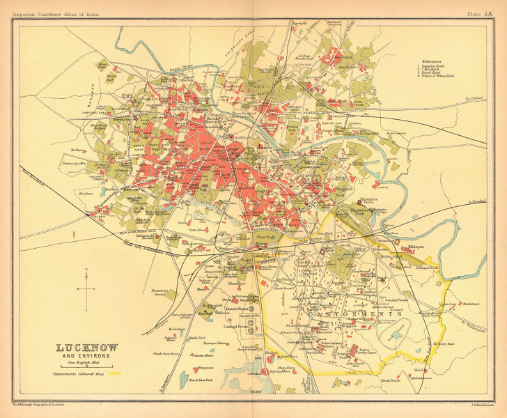 Lucknow town city plan. Cantonment & key buildings. British India 1909 old map