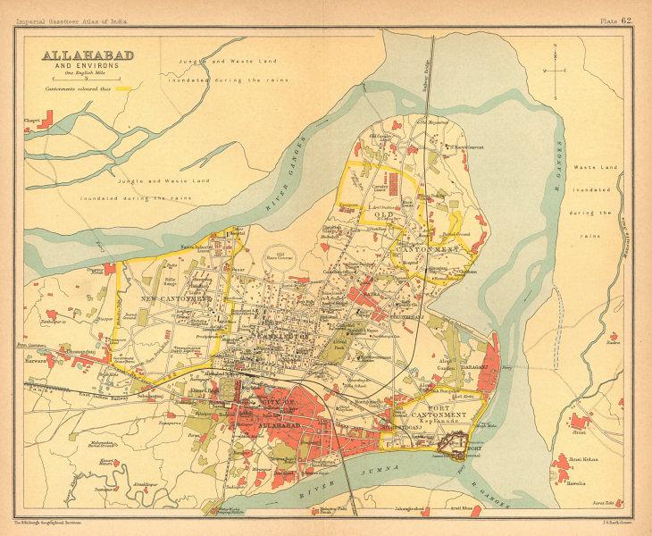 Associate Product Allahabad/Prayagraj town city plan. Cantonment. British India 1909 old map