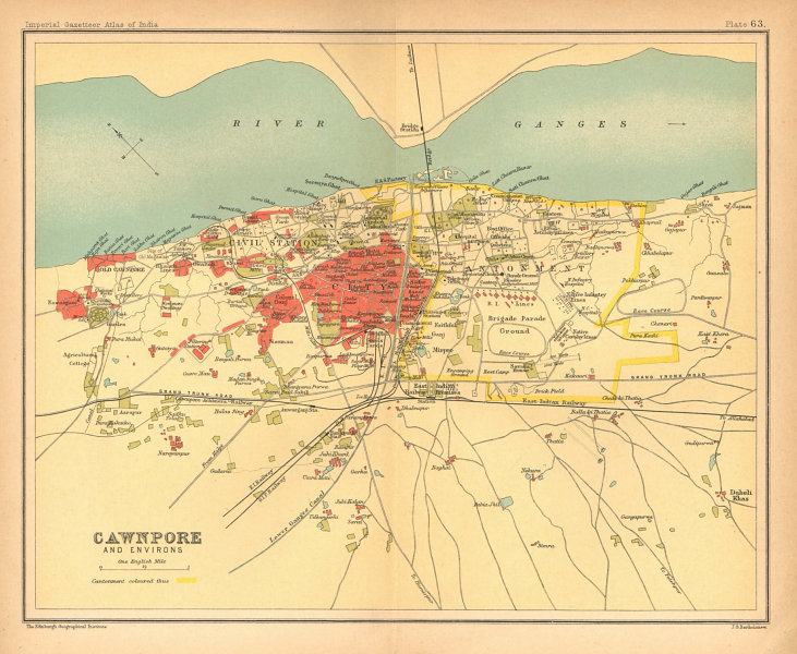 Associate Product Cawnpore/Kanpur town city plan. Key buildings Cantonment. British India 1909 map