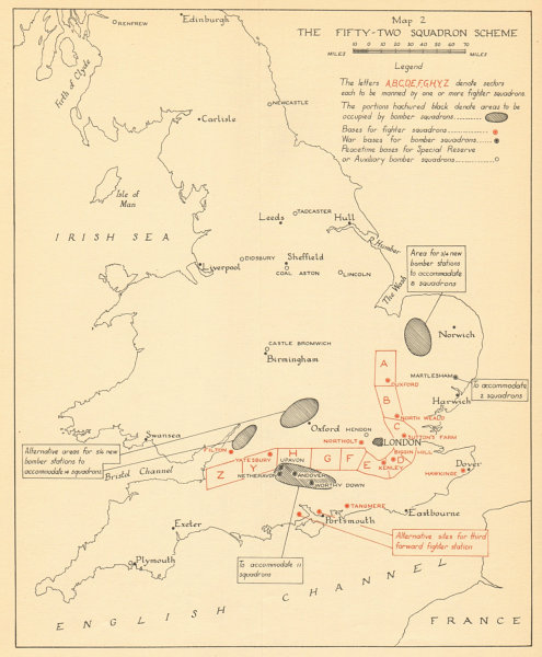 Associate Product Fifty-Two Squadron UK Air Defence scheme 1924. Battle of Britain WW2 1957 map