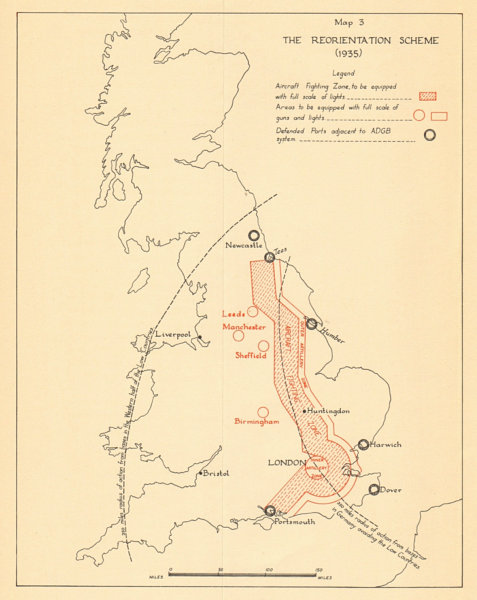 Associate Product The Reorientation Scheme of Air Defence (1935). Battle of Britain. WW2 1957 map