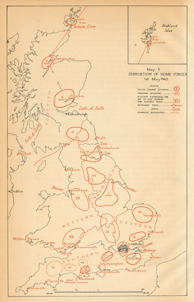 Associate Product UK Home Forces disposition 1st May 1940. World War 2. Operation Sealion 1957 map