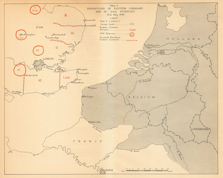 Associate Product Disposition of UK Eastern Command & GHQ Reserves 31st May 1940. WW2 1957 map