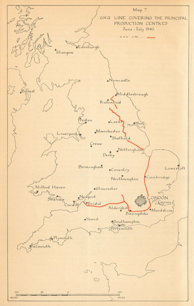 Associate Product GHQ UK defence line. Principal Production Centres July 1940. WW2 1957 old map