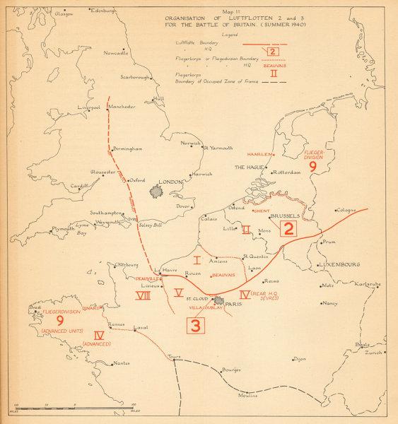 Associate Product Luftwaffe Command organisation. Battle of Britain, Summer 1940. WW2 1957 map