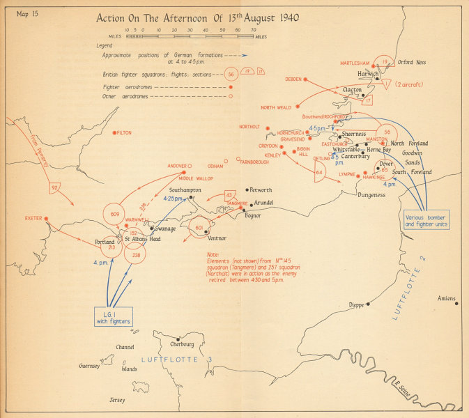 Associate Product Adlertag Eagle Day pm 13th August 1940. Battle of Britain. World War 2 1957 map