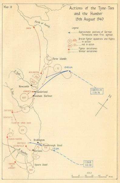 Associate Product Battle of Britain. Tyne-Tees & Humber raid. 15 August 1940. Luftwaffe 1957 map