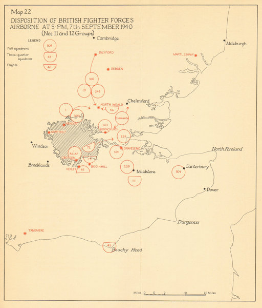 Associate Product RAF Fighter Forces airborne 7 Sept 1940 Battle of Britain London Blitz 1957 map