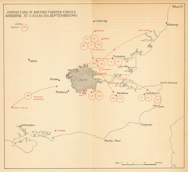 Associate Product RAF Fighter Forces airborne 11.30am 15 Sept 1940. Battle of Britain Day 1957 map