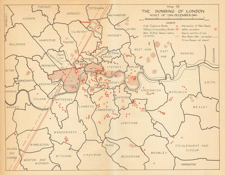 Associate Product Luftwaffe Bombing of London 29 December 1940. Blitz. World War 2 1957 old map