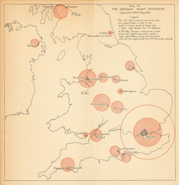 Associate Product Luftwaffe night attacks on British Cities 1940-41. Bomb tonnage. WW2 1957 map