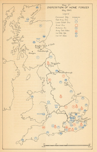 Associate Product Disposition of Home Forces Spring 1942. Uk defence. World War 2 1957 old map