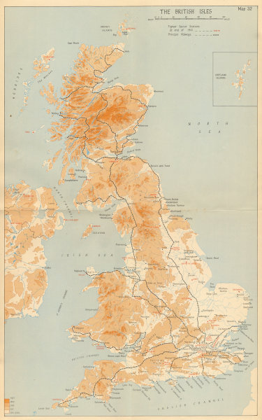 Associate Product United Kingdom showing RAF Fighter Sector Stations, 1941. World War 2 1957 map