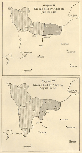 Associate Product Battle of Normandy 1944. Ground held by the Allies July 24 & Aug 1. WW2 1962 map