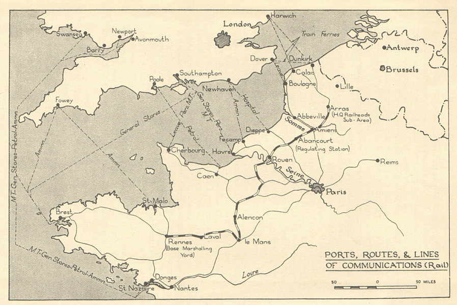 Map Of France 1940.Details About Fall Of France 1940 Ports Routes Rail Communications Ww2 1953 Old Map