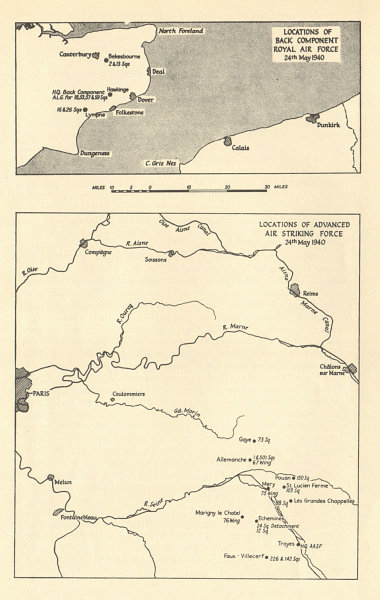 Map Of France 1940.Details About Fall Of France Raf Locations In France Kent 24th May 1940 Ww2 1953 Old Map