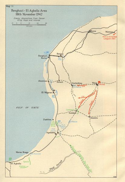 Associate Product Benghazi-El Agheila area. 18 Nov 1942. Libya North Africa World War 2 1966 map